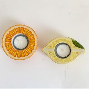 PartyLite 2 Fruit Shaped Candler Holders